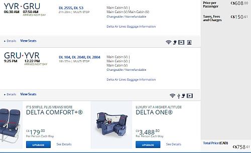 Vancouver / Victoria to Rio de Janeiro, Brazil - $760 CAD