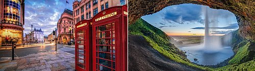 London, UK and Iceland