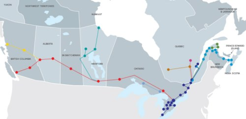 ViA Rail train map