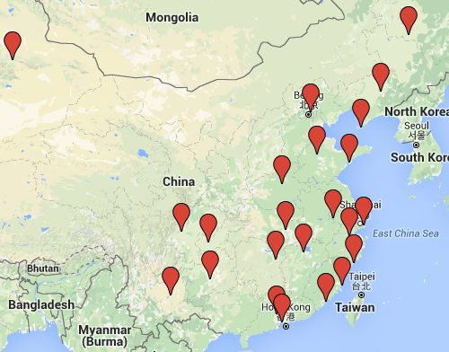Google map of all airports in China